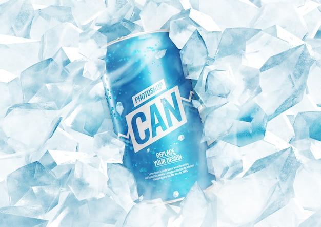 Сода может макет с кубиками льда