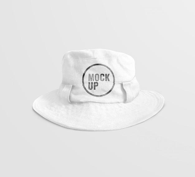 白いバケツの帽子のモックアップテンプレート