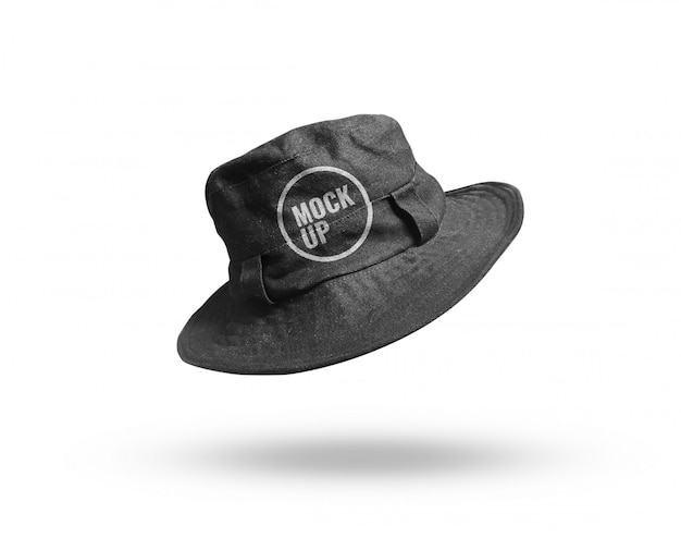 現実的な黒い帽子チラシモックアップ