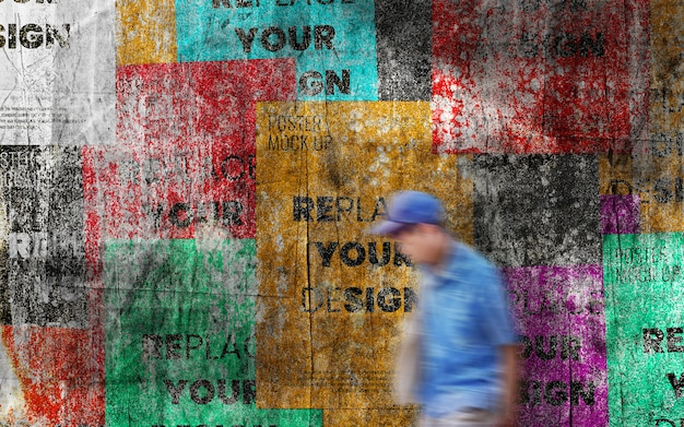 Гранж стена с макетами плакатов