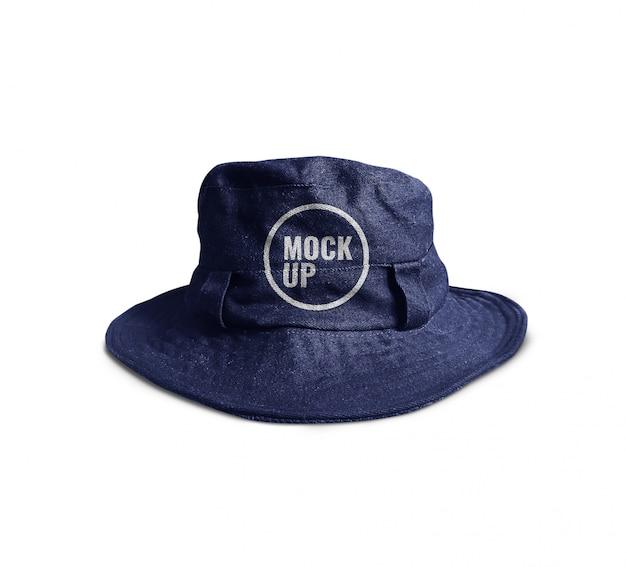 現実的な青いバケツの帽子のモックアップ