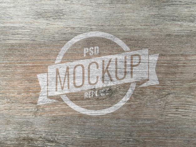 Деревянный логотип макет реалистично