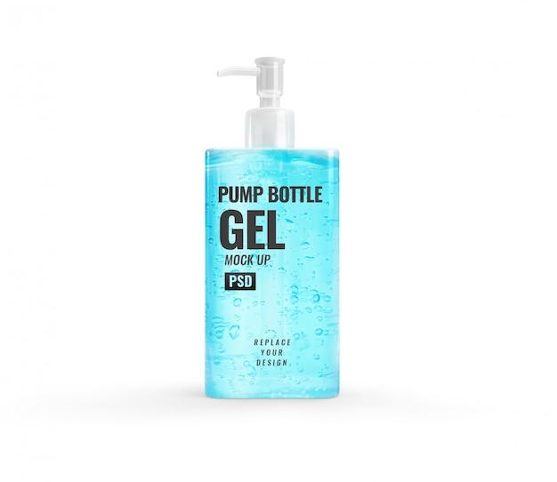 青いアルコールゲルモダンなボトルポンプ手消毒剤モックアップ