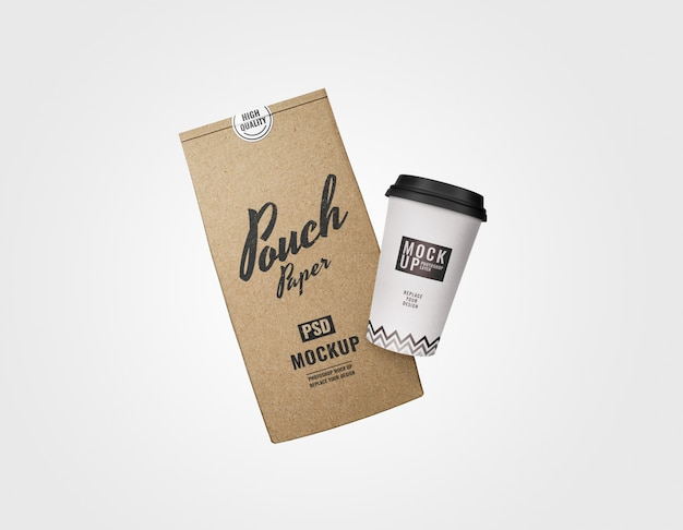 最小限のコーヒーセットのモックアップレンダリング