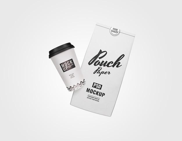 コーヒーパックショットブランディングモックアップ広告