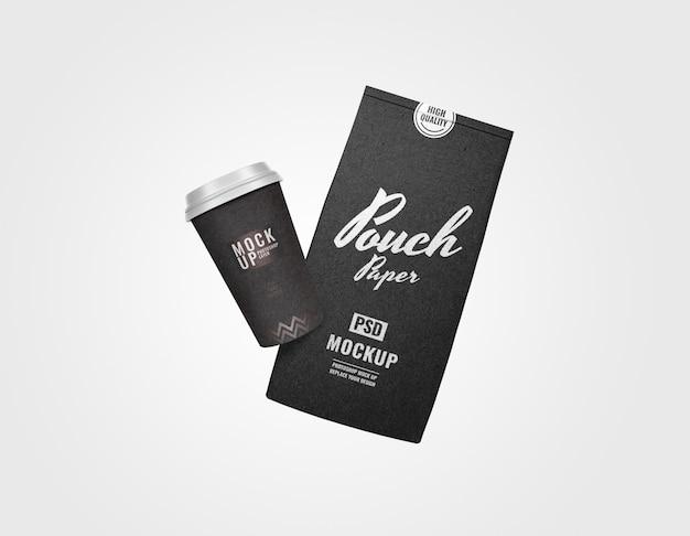 黒の最小限の小袋とカップベーカリーセットモックアップ