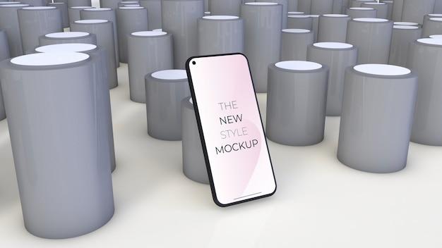 Реалистичная модель смартфона с серыми цилиндрами