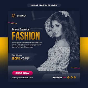 Новый сезон, модная распродажа, социальные медиа и веб-баннер