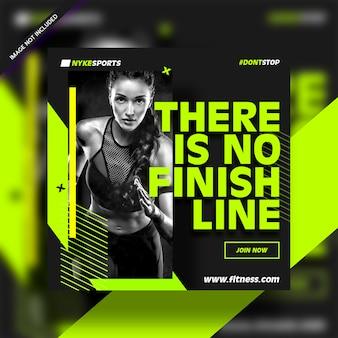 Фитнес-центр квадратный баннер шаблон