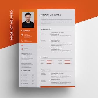 Оранжевый резюме с боковой панели