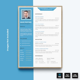 Шаблон резюме профессионального синего резюме