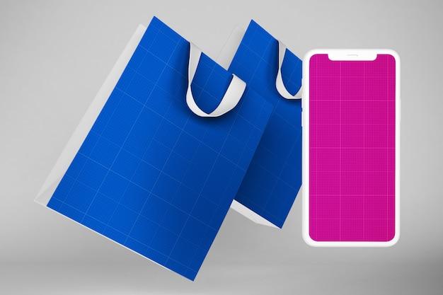 クリーンなショッピングアプリのモックアップ