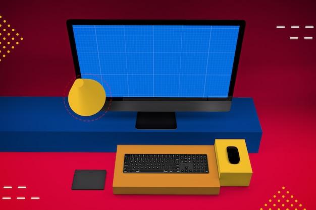 モックアップ画面付きのデスクトップコンピューター
