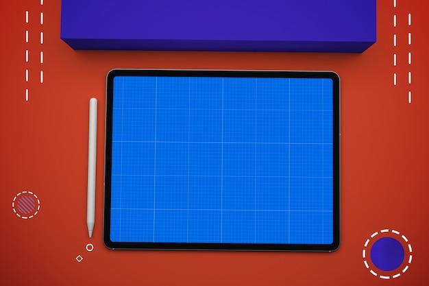 モックアップ画面付きデジタルタブレット、トップビュー