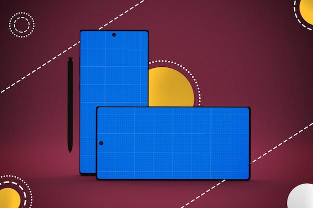 モックアップ画面、水平および垂直方向のスマートフォン