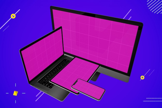 Макет нескольких устройств: ноутбук, настольный компьютер, цифровой планшет и смартфон