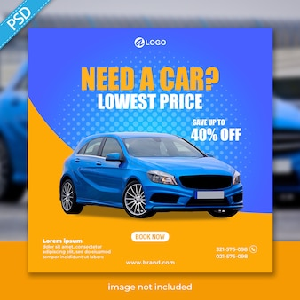 Прокат авто для соцмедиа в инстаграм пост шаблон баннер премиум