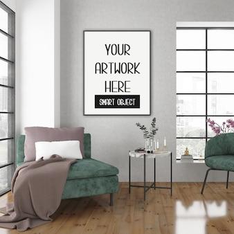 Каркасный макет, комната с черной вертикальной рамой, скандинавский интерьер