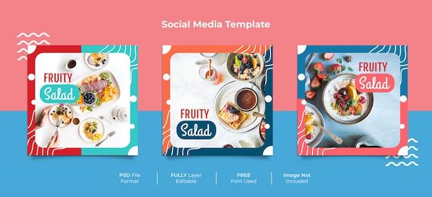 フルーティーなサラダメンフィススタイルの食品ソーシャルメディアの投稿