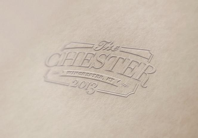 Шаблон логотипа или текстового макета. тисненый логотип