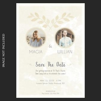 水彩花の結婚式や招待状カードのテンプレート