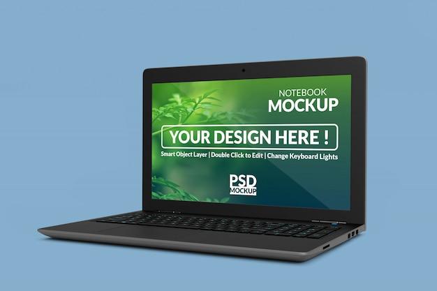 高品質の現実的なラップトップデバイスがモックアップを表示