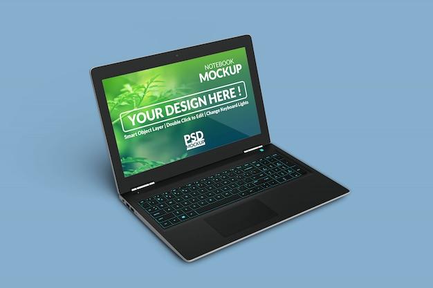 左斜め等角図でモックアップ画面を備えたラップトップコンピューターデバイス