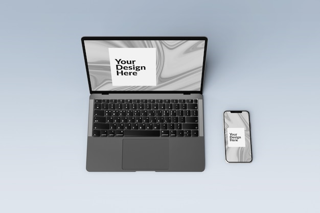 Редактируемый набор цифровых устройств на экране смартфона и макета ноутбука