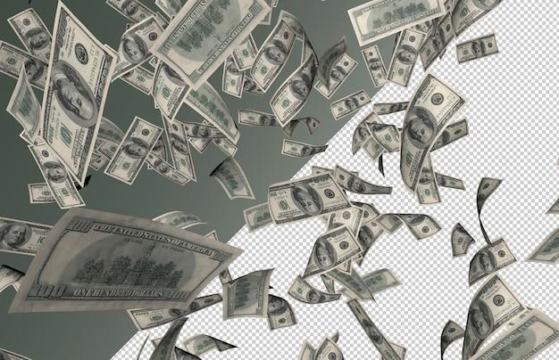 実際の紙幣の雨–上から数百ドル