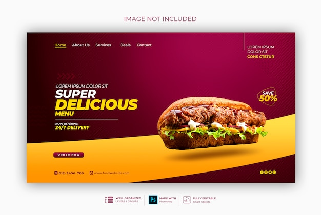 Вкусная еда или ресторан веб-баннер шаблон