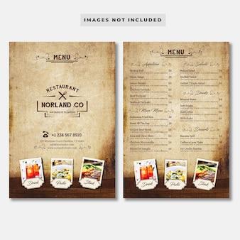 Винтажное меню ресторана