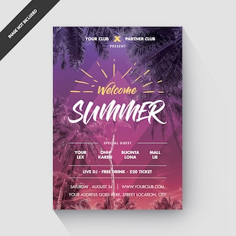 Летняя вечеринка флаер или плакат