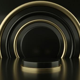 製品プレゼンテーション用の黒と金色の表彰台