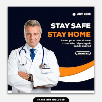 テンプレートソーシャルメディアポストスクエアバナーコロナウイルスは家に安全に滞在