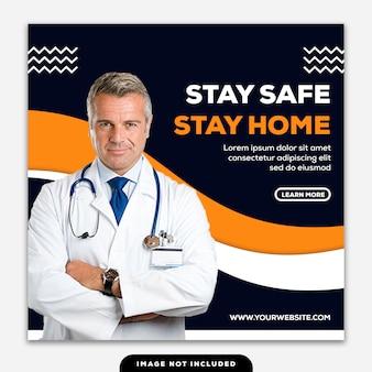 テンプレートソーシャルメディアポストスクエアバナーコロナウイルスは注意して家にいるようにしてください