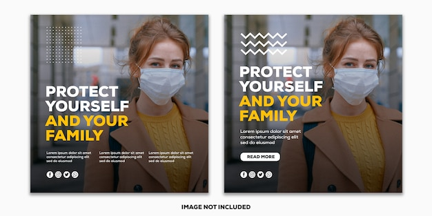 テンプレートソーシャルメディアポストスクエアバナーコロナウイルスコレクション女の子使用マスクプロテクト