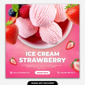 ソーシャルメディアの投稿バナーテンプレートスペシャルフードアイスクリームイチゴ
