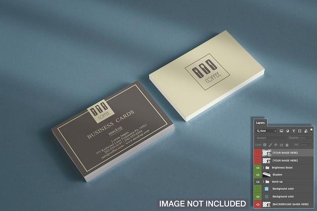 Макро горизонтальные визитки стеки макет