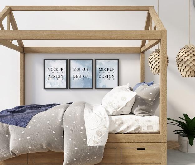 Современный дизайн детской спальни с постером макета