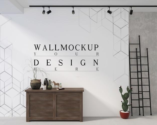 装飾が施されたキャビネットテーブルのフレームとモックアップポスター