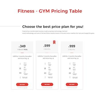 Фитнес-тренажерный зал таблицы цен баннер