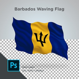 透明なモックアップでバルバドスの国旗の波
