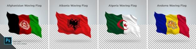 アフガニスタン、アルバニア、アルジェリア、アンドラの旗セット透明に設定