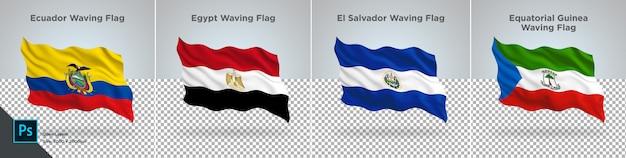 エクアドル、エジプト、エルサルバドル、赤道ギニアの国旗セット透明に設定