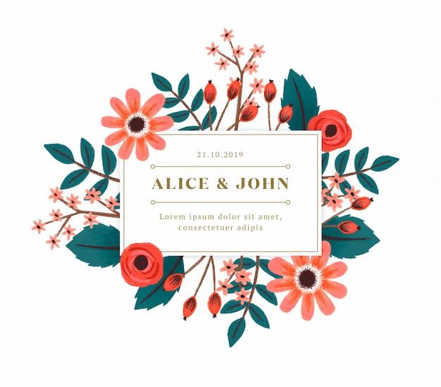 Ручная роспись цветочные свадебные приглашения