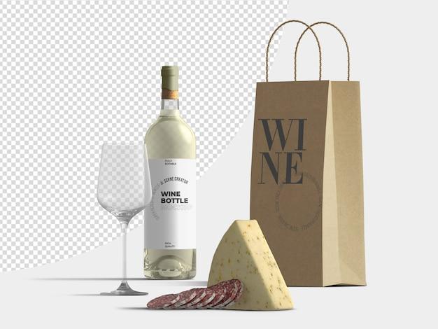 Шаблон макета винной бутылки и бумажного пакета с сыром и салями