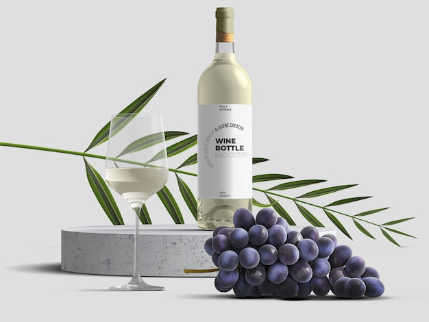 Шаблон макета бутылки вина с виноградом и листьями