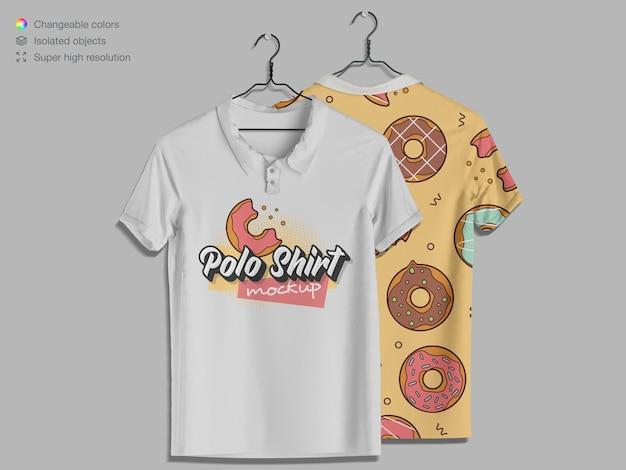 ポロシャツの前面と背面のモックアップをぶら下げ正面図