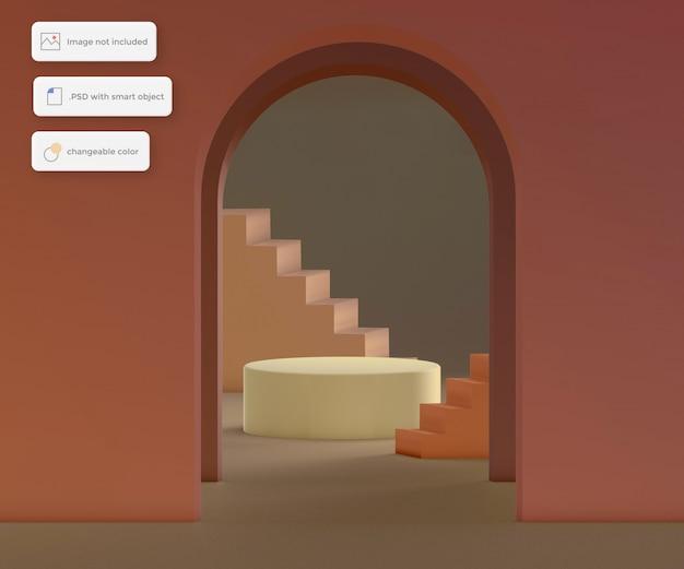 階段を背景とする演壇、製品配置