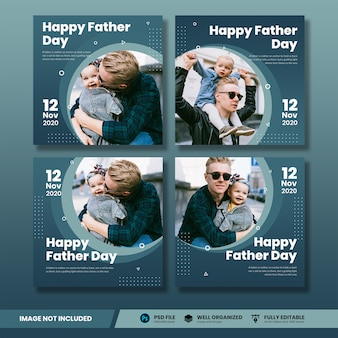 幸せな父の日ソーシャルメディアバナーコレクション